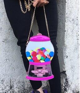 Image 5 - Śliczne moda automat z cukierkami Pu Laser Pu młoda dziewczyna Crossbody Mini torba na ramię torebka damska Flap Bolsa torebka