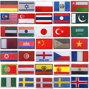 World Countries Patch Embroidery Stripes Israel Russia Turkey France EU Netherlands Flag Tactical Military Army Applique Stripes(China)