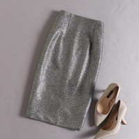 PHOEBE HZ Autumn winter Silver Sequin Skirts Women Bling Shine Glitter Pencil Skirt colour changing