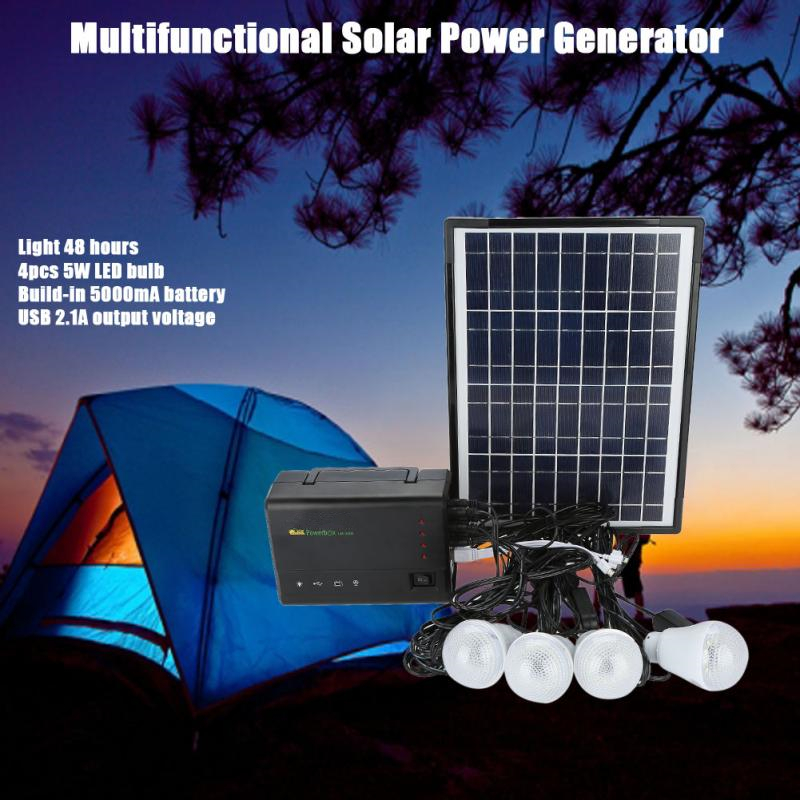 Solar LED Light Outdoor USB Charger Solar Lamp Generator System Solar Light Bulb For Outdoor Camping