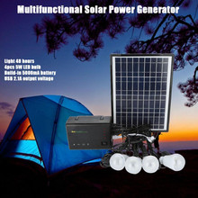 Solar LED Light Outdoor USB Charger Solar Lamp Generator System Solar Light Bulb For Outdoor Camping EU Plug110-220V luz solar(China)