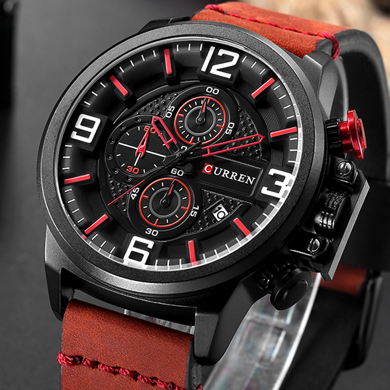 CURREN Fashion Casual New Men's Wristwatch Chronograph Sports Men Watches Genuine Leather Strap Male Clock Calendar Watches