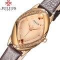 2017 popular julius marca mujeres de las señoras relojes reloj de cuero delgada chica rhinestone reloj casual relogio feminino de pulsera