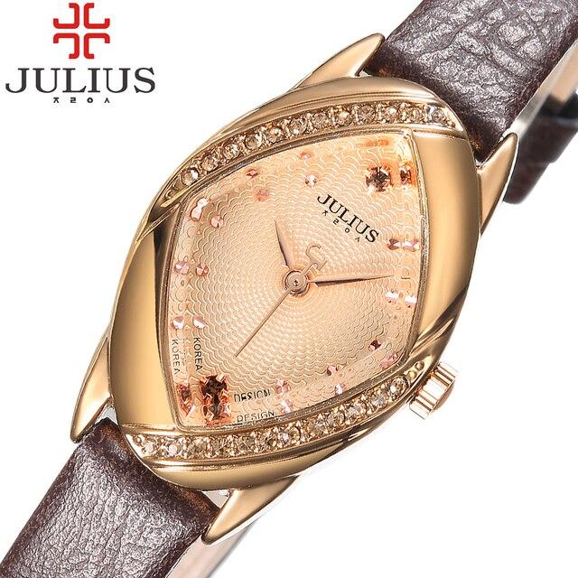 2018 Popular Julius Marca Relógios Relógio Das Senhoras Das Mulheres Menina Rhinestone Pulseira de Couro Fino relógio de Pulso Casual Relogio feminino