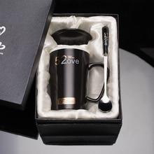 Oussirro Новинка Творческий керамический кофе чашка молока кружки с крышкой с ложкой дать Lover Подарки на день рождения