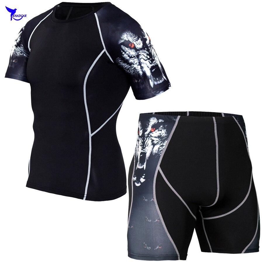 Для мужчин сжатия костюмы базы Слои короткий рукав футболки 3D печати шорты дно ММА Rashguard колготки Фитнес Спортивная Для мужчин набор ...