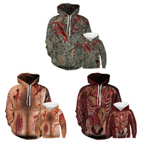 Halloween scratches 3D digital print Matching Family wear hooded sweater M118