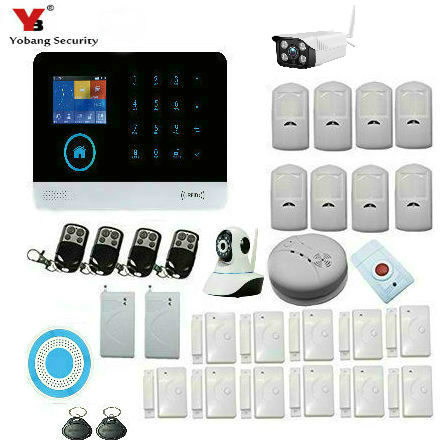 Yobang Security APP WIFI RFID GSM SMS Autodial House Office Burglar Intruder Alarm System Outdoor IP Camera Smoke Fire Sensor цена