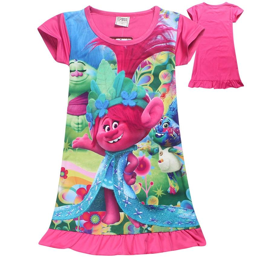 Trolls Children Dress Clothing Summer Dresses Girls Baby Pajamas Costume Princess Nightgown Vestidos Infantis Clothes kids nightgown sleepwear girls long sleeve flannel pajamas children lace pijamas sweet princess nightgown