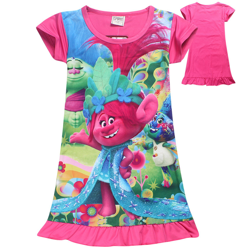 Trolls Vestidos Niñas Bebé Pijamas Traje de La Princesa Vestido de Los Niños Rop