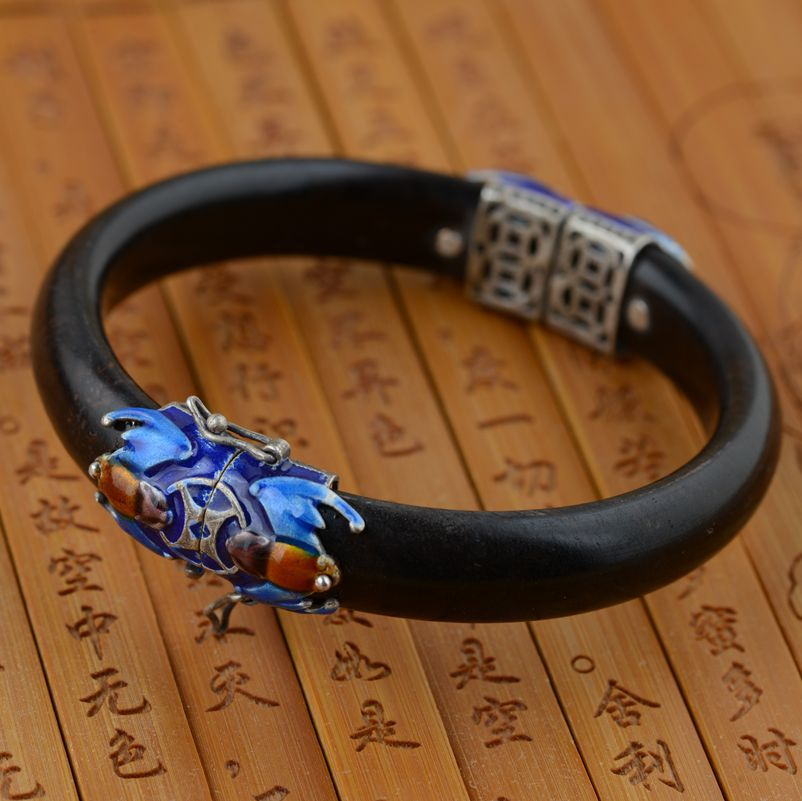 Sandalwood BRACELETS WHOLESALE S925 silver inlaid antique jewelry craft Shaolan female Fu opening in the eyes