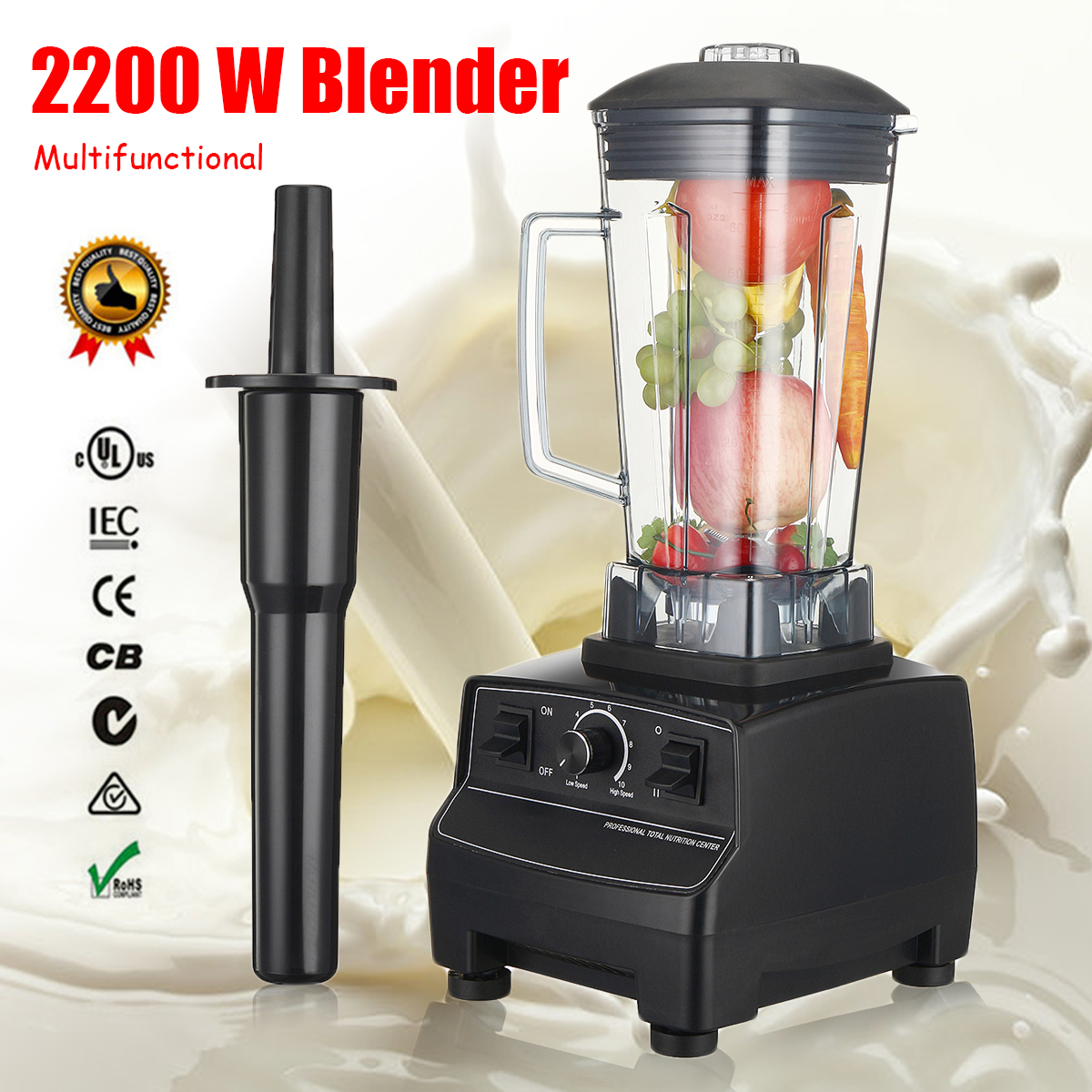 2L 3-HP 110V US Blenders 2200W 6 Blades 45000-peak 10 Adjustable Speed Hardened Stainless Steel Blades Easy Metal Connect System стоимость