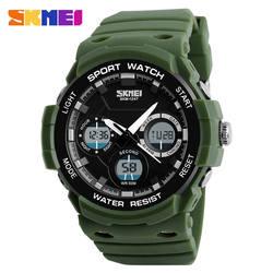 SKMEI кварц цифровые часы Для мужчин часы Водонепроницаемый планки PU спортивные часы хронограф Будильник Военная наручные часы Relogio 1247
