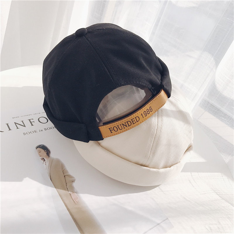 Embroidery 1986 Men Women Skullcap Hat Cap Casual Docker Sailor Mechanic Brimless Solid Color Gorro Invierno Mujer Spring Cap