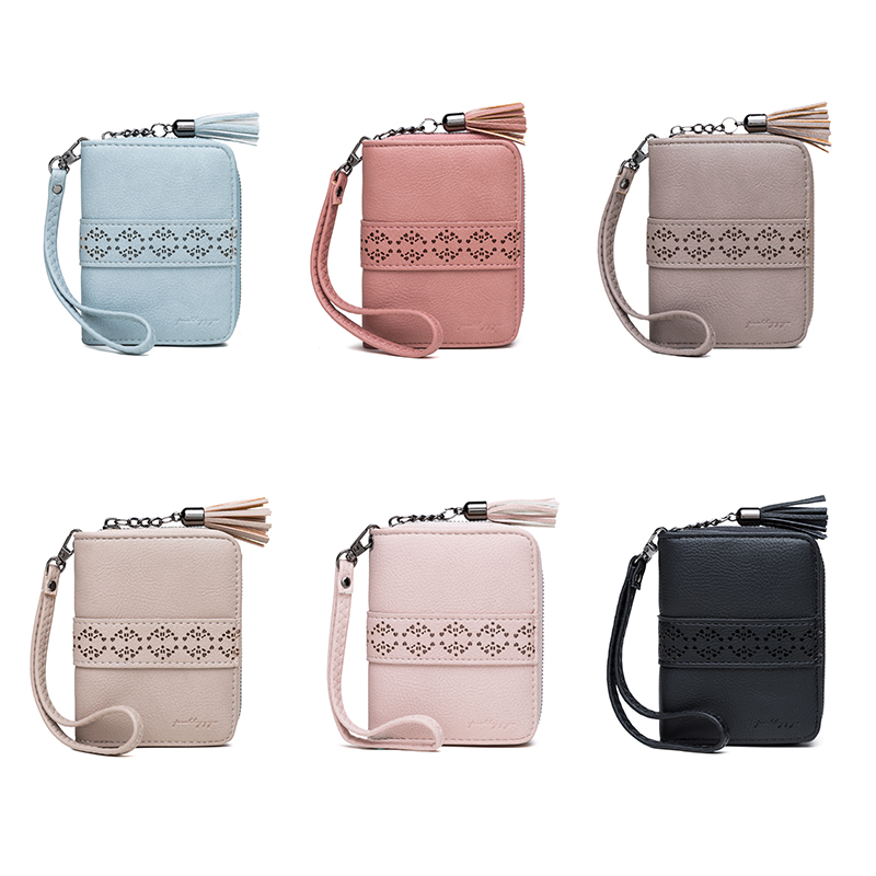 New Hollow Out Women Short Clutch Wallet Floral Mini Cellphone Bag Zipper Tassel Coin Purse Flower Fresh Girls Small Card Holder in Wallets from Luggage Bags