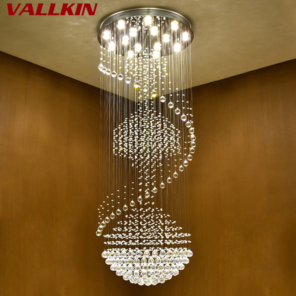 Luxury Modern Chandelier Large Big Stair Long Spiral Crystal Chandeliers LED Lighting Fixture for Staircase Drop Pendant Lamp