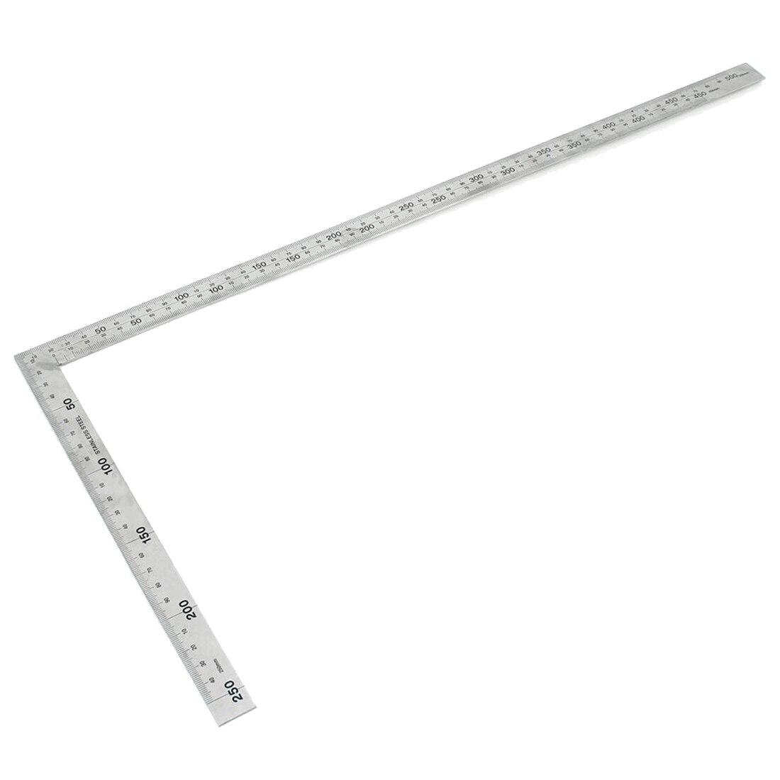Edelstahl 25x50 Cm 90 Grad Winkel Versuchen Quadrat Herrscher Messen Werkzeug GroßE Sorten Messung Und Analyse Instrumente