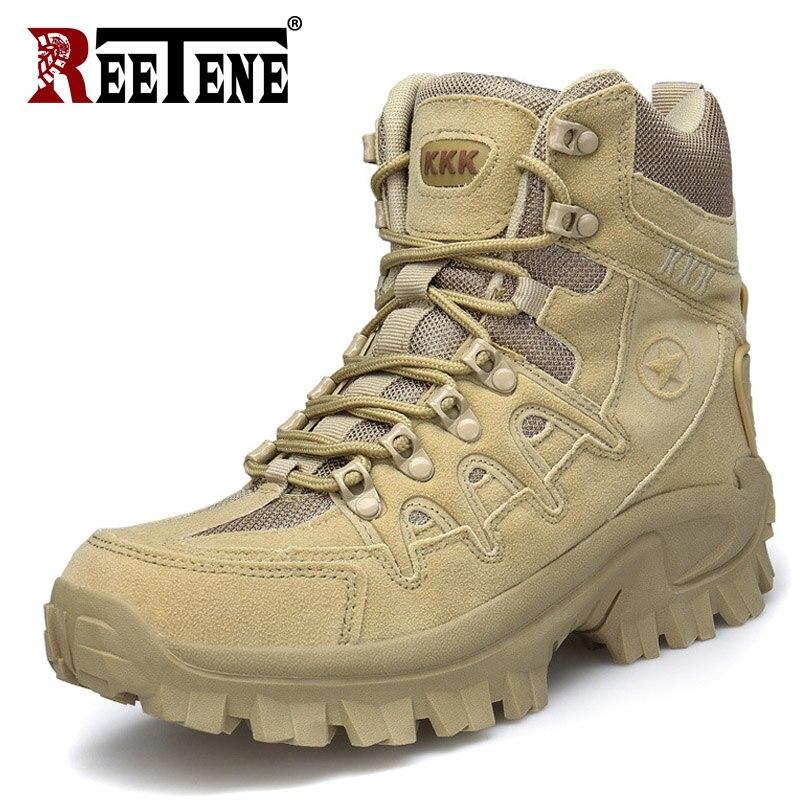 REETENE High Quality Men Military Boots Winter Autumn Men S Boots 2018 Men Safety Shoes Botas