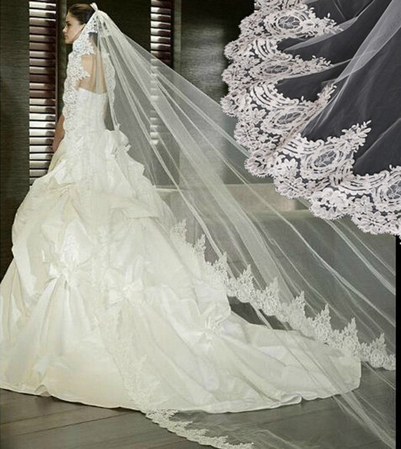 In Stock 2016 White Wedding Veil 3m Long Lace Mantilla Bridal Veil Wedding Accessories Veu De Noiva