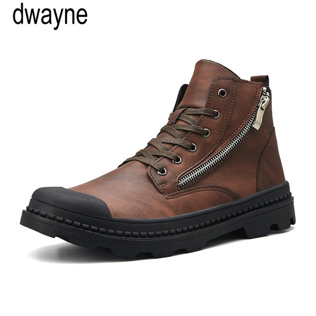PU Leather Men Ankle Boots Fashion Snow Boots For Men Zipper Men's Boots Man Black Brown Lace Up Shoes For Winter Autumn jkm9