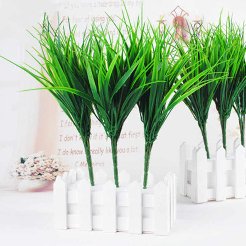 Hot 7 Fork Christmas Party Water Green Fake Grass Plastic Artificial Plants  plastic flower Plant Wedding Home Garden Decoration