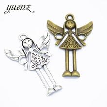 YuenZ 4 шт античный посеребренный Ангел подвески для девушки металлический кулон Diy ювелирные изделия ручной работы аксессуары 58*39 мм I230