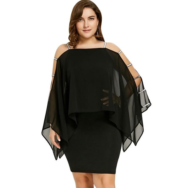 0741195b0e 2018 Women Dress Plus Size Ladder Cut Capelet Dress Flowy Sheer Sheath  Pencil Summer Dress Long Sleeves Square Colla Dress