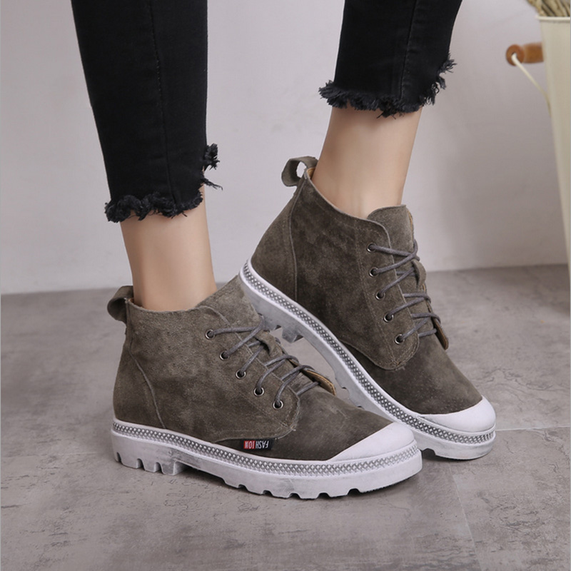 QICIUS 2017 Newest High Quality Genuine Leather Shoes Boots Women Platform Flat Shoes Ankle Boots Fashion Lace up Girl B0049 high quality full cow skin genuine leather flat casual ankle boots women 2016 black white lace up fashion autumn walking shoes