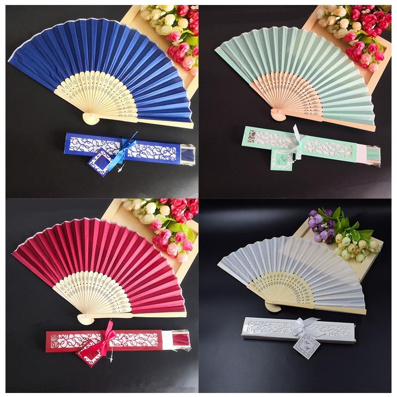100pcs Personalized Luxurious Silk Fold hand Fan in Elegant Laser Cut Gift Box Wedding Party Favors