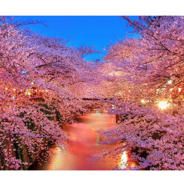Cherry Blossom Trees Scenery Full Diy Diamond Painting Cross Sch Mosaic Pattern Embroidery Decor