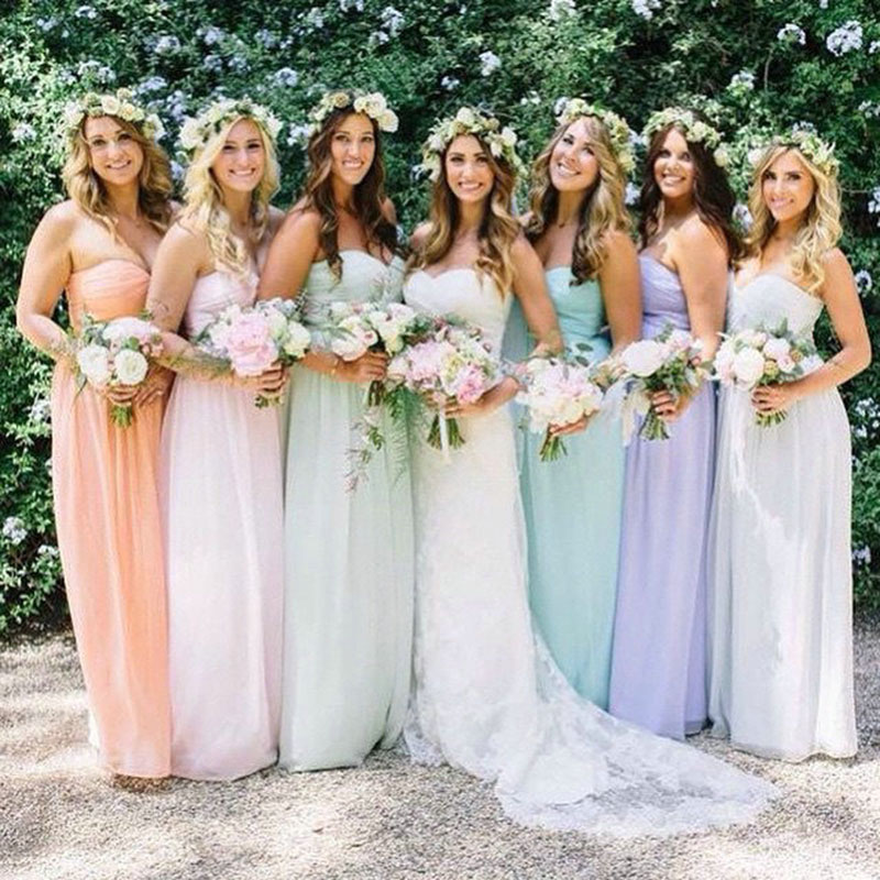 Colorful Long Bridesmaid Dresses Sweetheart Ruched Chiffon A line Rainbow Bridesmaid Dress Floor Length Backless Party Dress