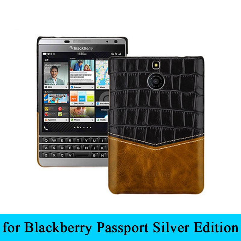 For Black Berry <font><b>Passport</b></font> 2nd <font><b>Case</b></font> Alligator Patterned Genuine Leather Back <font><b>Case</b></font> for <font><b>BlackBerry</b></font> <font><b>Passport</b></font> <font><b>Silver</b></font> <font><b>Edition</b></font> Cover image