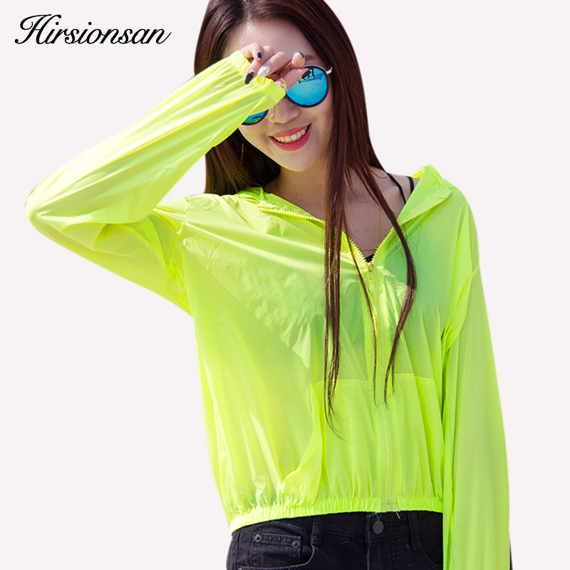 Hirsionsan Transparent Summer Sun Protection Clothing Women Hooded   Basic     Jacket   Breathable Beach Uv Sun Protection Thin   Jacket