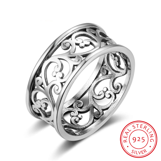 Solid 925 Sterling Silver Rings Vine Wave Pattern 8.5mm Width Vintage Rings For