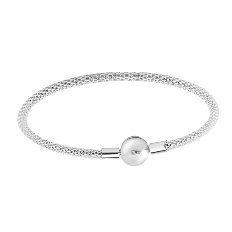 Pandulaso MOMENTS Sterling Silver Mesh Bracelet For Woman DIY jewelry making Fit European Beads Charms Fashion