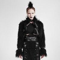 Steampunk Gothic Gray Fur Winter Coat For Women Black Sexy Long Sleeve Turtleneck Warm Women Short Coats