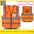 Safety reflective vest print logo orange work vest company uniform free shipping
