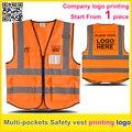 Colete de segurança refletivo imprimir o logotipo laranja colete de trabalho uniforme da empresa frete grátis
