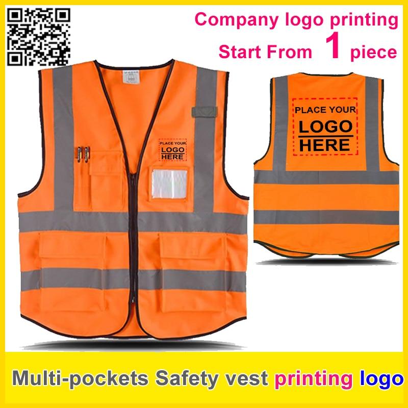 SPARDWEAR Safety reflective vest print logo orange work vest company uniform free shipping men abstract print plain vest
