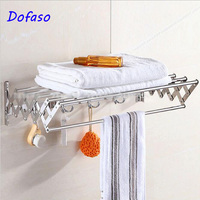 Dofaso Bathroom Shelves Tempered Double Rack Shower Storage Wall Solid Shelf Shower clothes rack Holder Unit