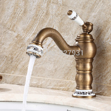 Fashion Deck Mounted Single Handle Basin Sink Mixer Faucet Antique Brass Long Neck Bathroom Vessel Sink