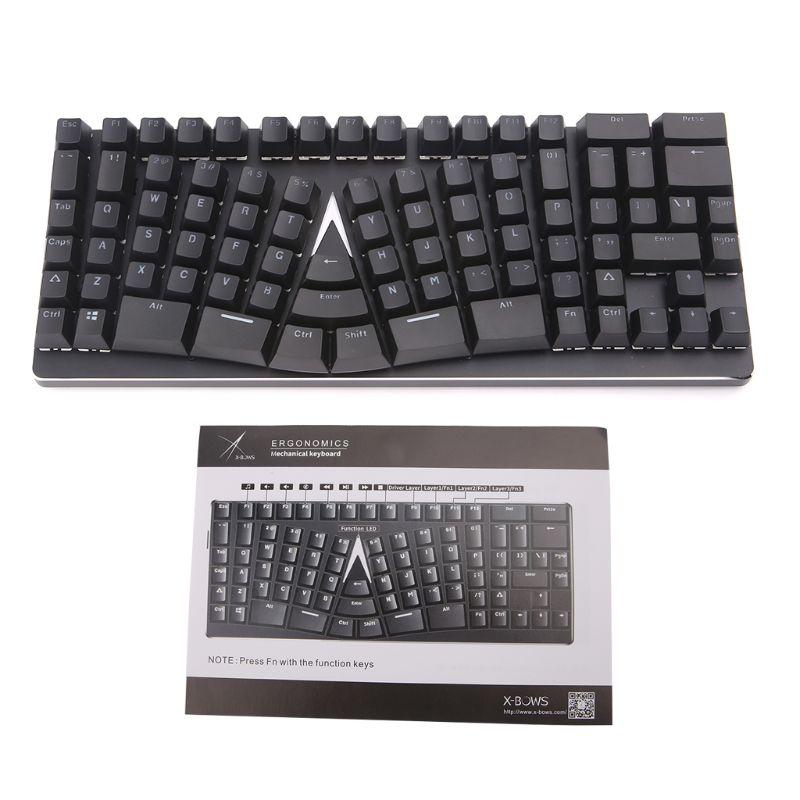 Ergonomic Keyboard Mechanical Gaming USB Type-C 86 Keys Wired For Microsoft HP LG