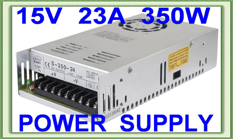 CE RoHS approved 15v ac dc S-350-15 single output hot sell switching power supply