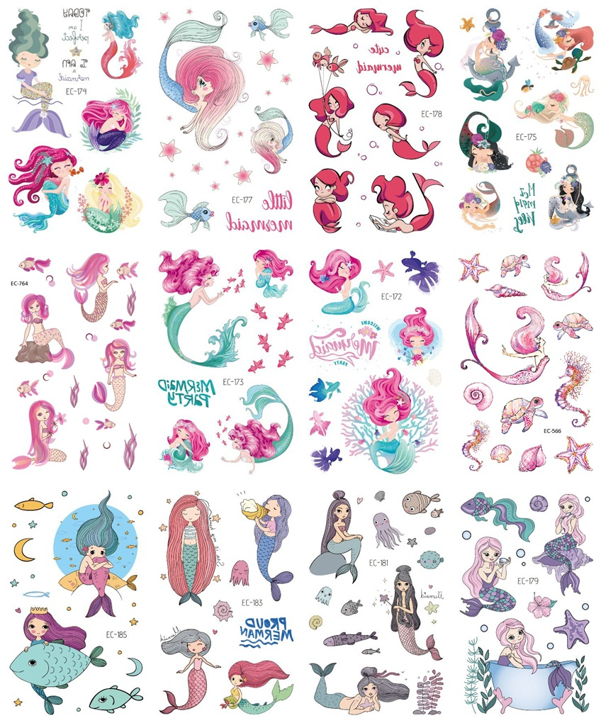 12 Sheets Flower Mermaid Unicorn Dolphin Temporary Tattoo Sticker For Kid Children Fake Joker Tattoo Kids Tattoo Sticker Tatoo