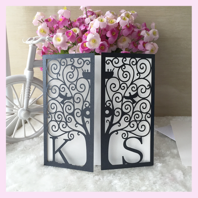 50 Pcs Customized Initinals Party Supplies Decoration Black Wedding Cards Latest Tree Design Invitation Card In Invitations From Home