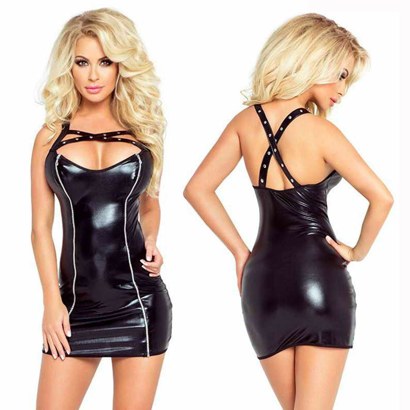 Hot Sale Rock Black Faux Leather Short Dress Cool Punk Low Cut Mini Dress Criss Cross Strap Bondage Dress Sexy Club Wear