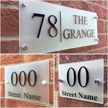 Customize MODERN HOUSE SIGN PLAQUE DOOR NUMBER STREET FROSTED GLASS EFFECT ACRYLIC NAME custom acrylic frosted house sign modern number name plaque 200x140mm home