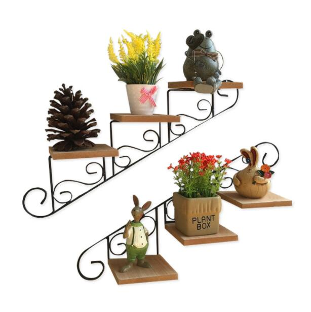 American wall shelf flower stand decoration frame wrought iron hanging flower pot rack multi layer punch