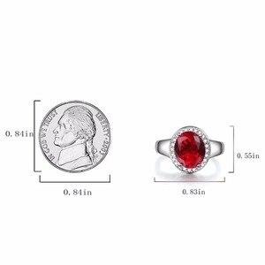 Image 5 - DOUBLE R Sterling Silver Bạc Nhẫn đối với Phụ Nữ 2.65ct Hình Bầu Dục Tạo Của Ruby Đá Quý Zircon 925 Engagement Ring