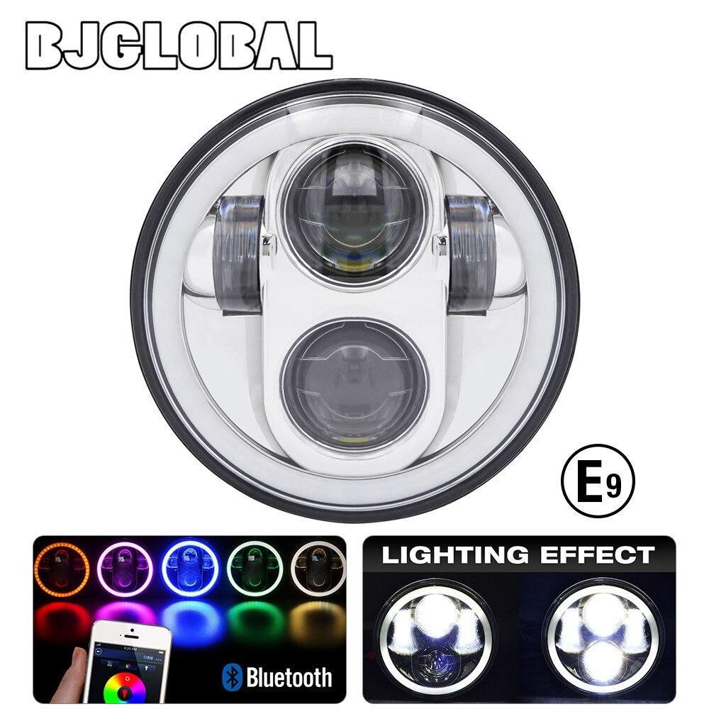 BJGLOBAL 5.75 Motorcycle H4 LED Headlight RGB Head Lights Hi/Lo Beam 6500K DRL Headlamp DC for Harley FXCW,FXS,FXSB,FXSB VRSCD